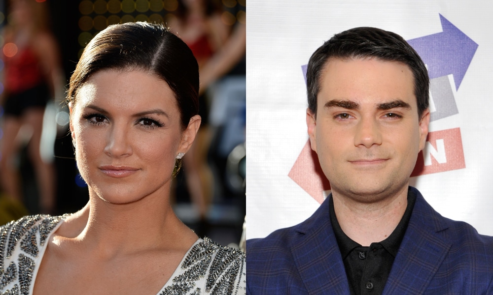 Headshots of Gina Carano and Ben Shapiro