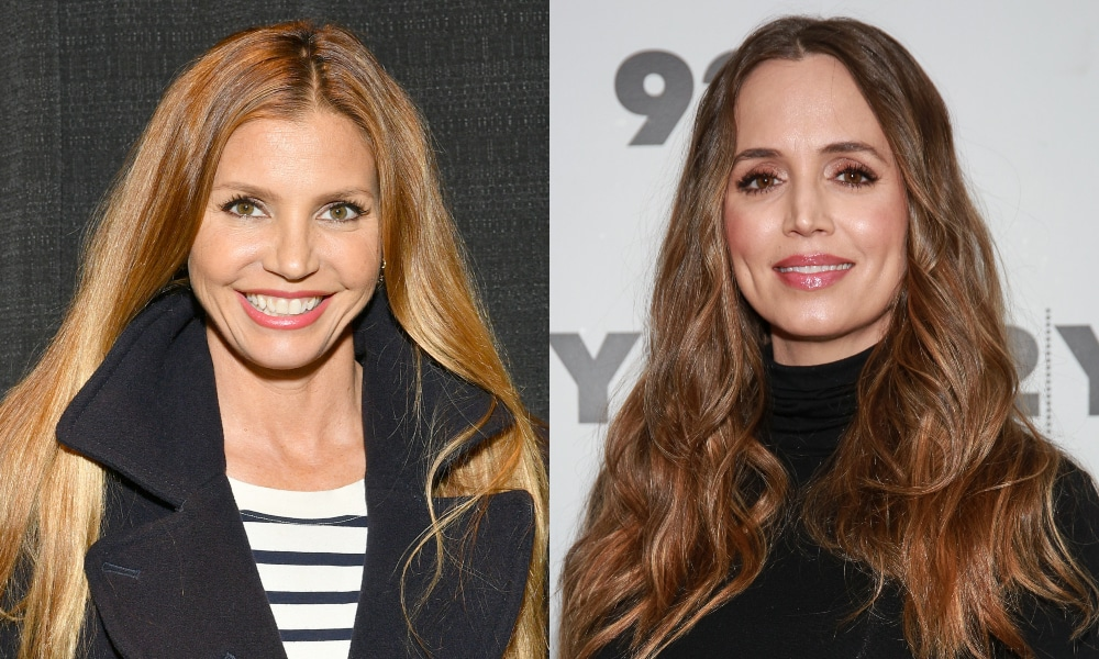 Headshots of Charisma Carpenter and Eliza Dushku both smiling to the camera
