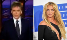 Craig Ferguson in a suit and Britney Spears in a black dress