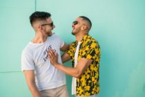 gay couple laughing