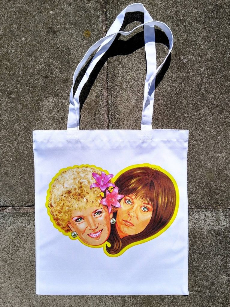 A tote bag featuring Kath and Kim. (Etsy/helloVONK)