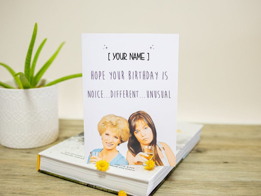 A personalised Kath & Kim birthday card. (Etsy/WrenandWattle)
