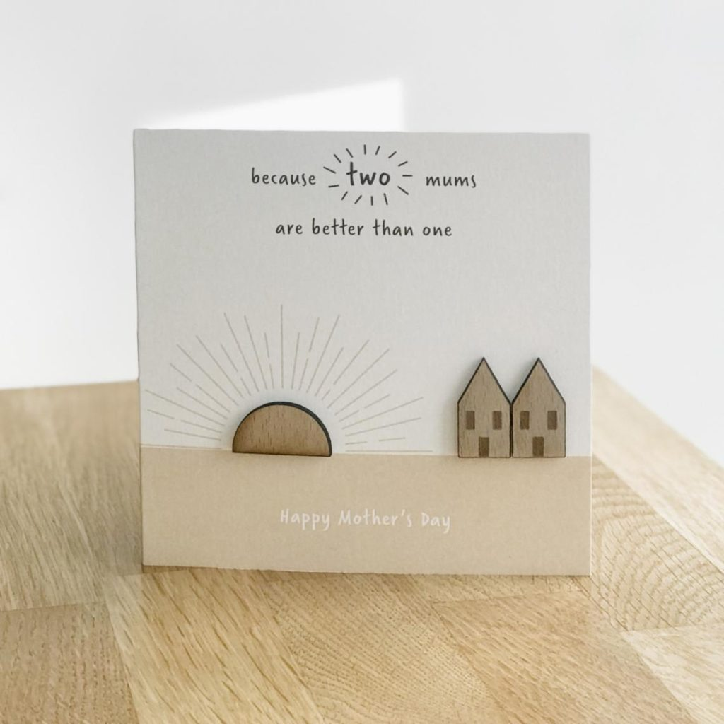 Two mums are better than one card. (Etsy/markmywoodcards)