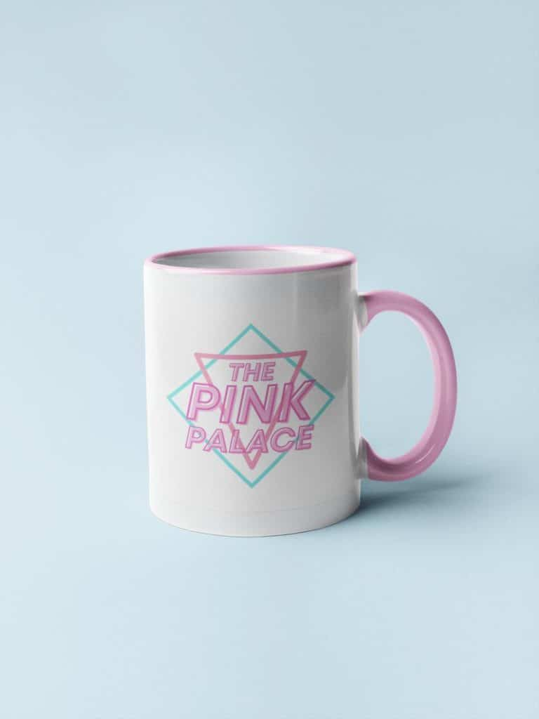 The 80s style Pink Palace logo is also available on tote bags and t-shirts. (ThirstyStore/Etsy)