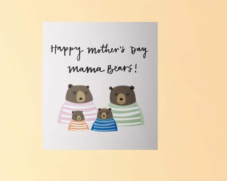 A mama bear Mother's Day card. (Etsy/beccaheseltondesigns)