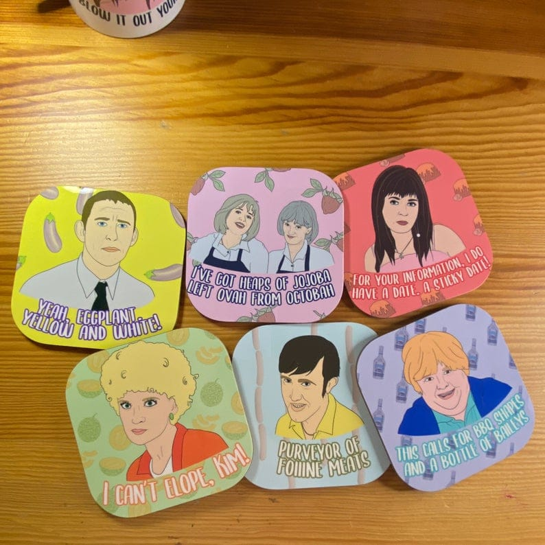 A coaster set featuring all the characters from the show. (EtsyAlbiArtsAus)