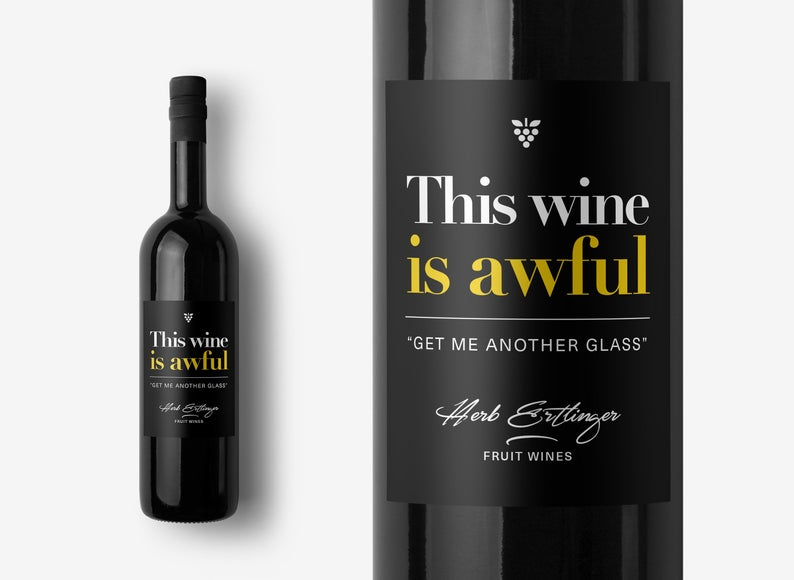 """A """"This wine is awful"""" label. (SignalGoods/Etsy)"""