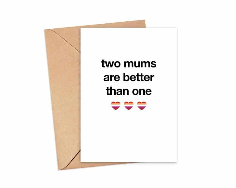 Two mums are better than one card. (Etsy/burntroseco)