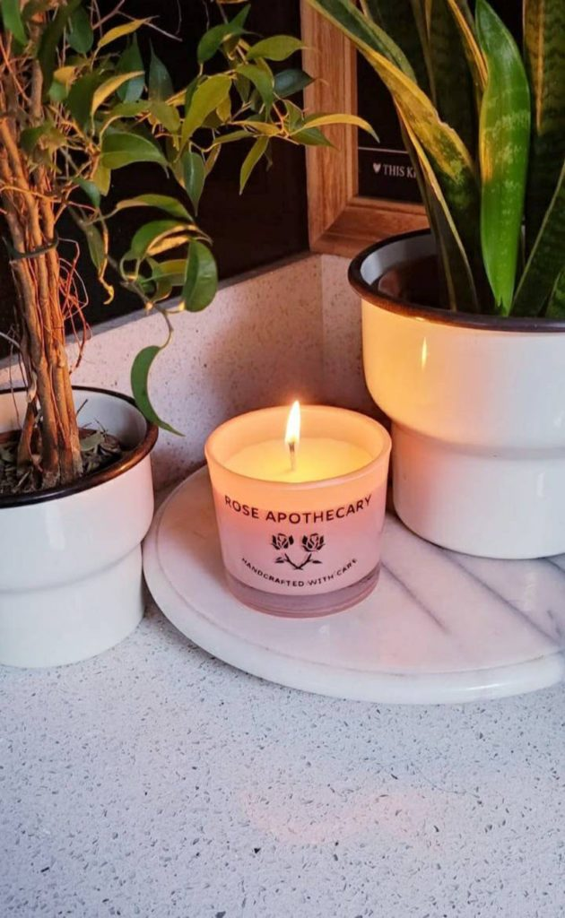 The Rose Apothecary candle. (LilyPopGiftsBoutique/Etsy)