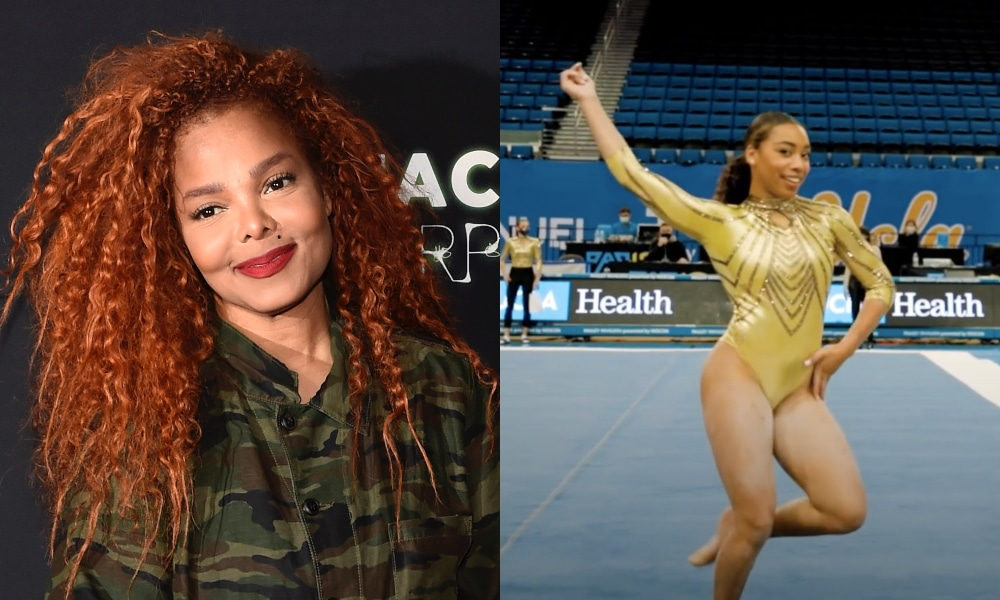 Headshot of Janet Jackson smiling. Margzetta Frazier flourishes during her floor performance in a