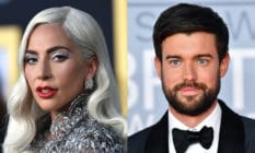 Headshots of Lady Gaga in a silver dress and Jack Whitehall in a black tuxedo