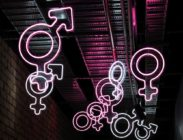 neon gender symbols including male female trans