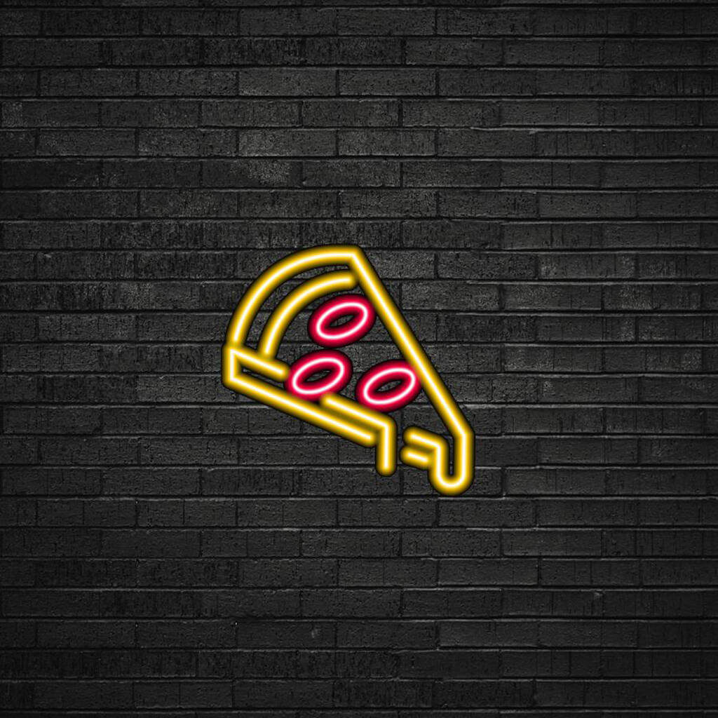 A pizza slice neon LED sign. (NotOnTheHighStreet)