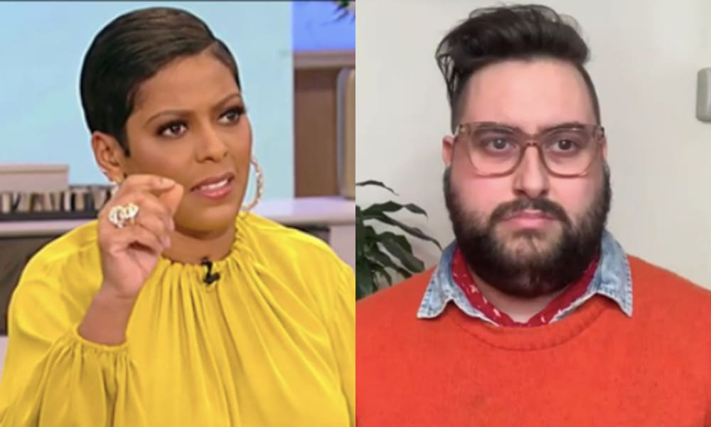 Tamron Hall in a yellow top gestures. Sherry Pie in an orange jumper stared directly at the camera