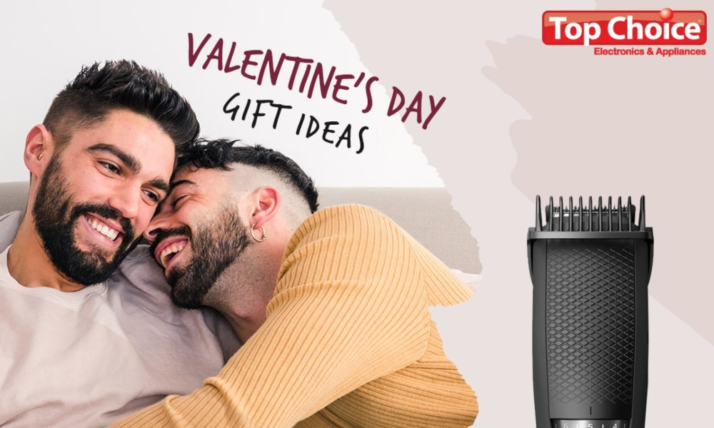 Two men cosy up on a bed with the words 'Valentine's Day Gift Ideas', 'Top Choice' and an image of a beard trimmer layered on top
