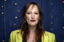 Trans actor Jen Richards in front of a blue background at the 2020 Sundance Film Festival