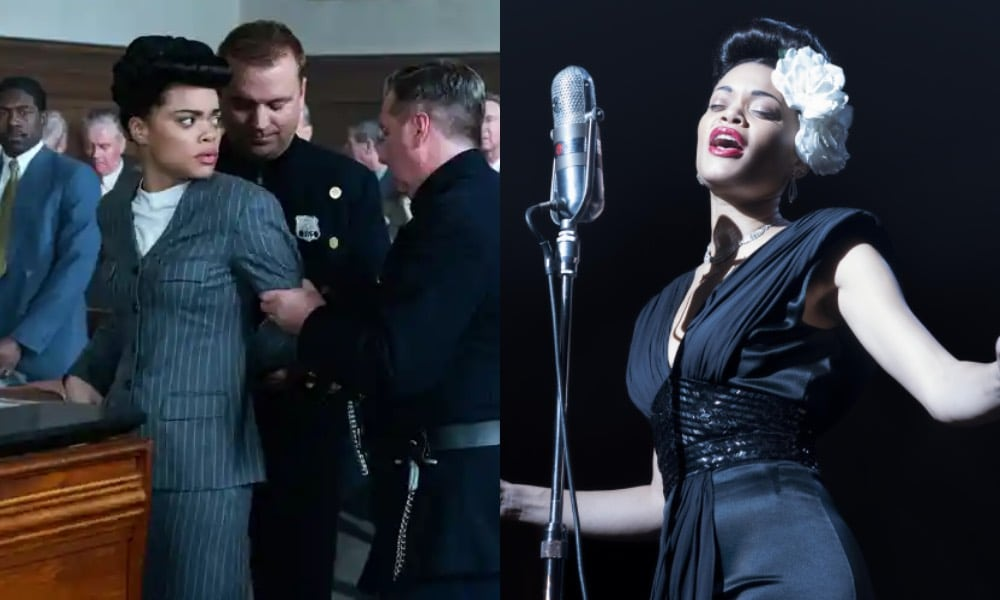 Andra Day as Billie Holiday: On the left, being handcuffed in a court room, on the right, singing into an old-fashioned microphone