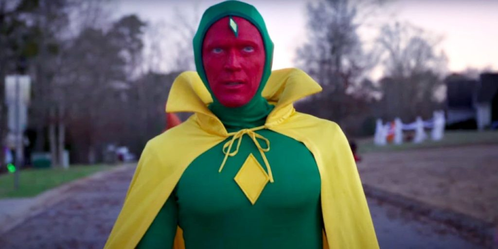 Vision in a green suit and yellow cape