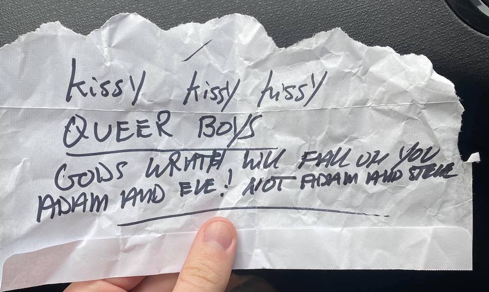 Homophobic note left on gay couple's car