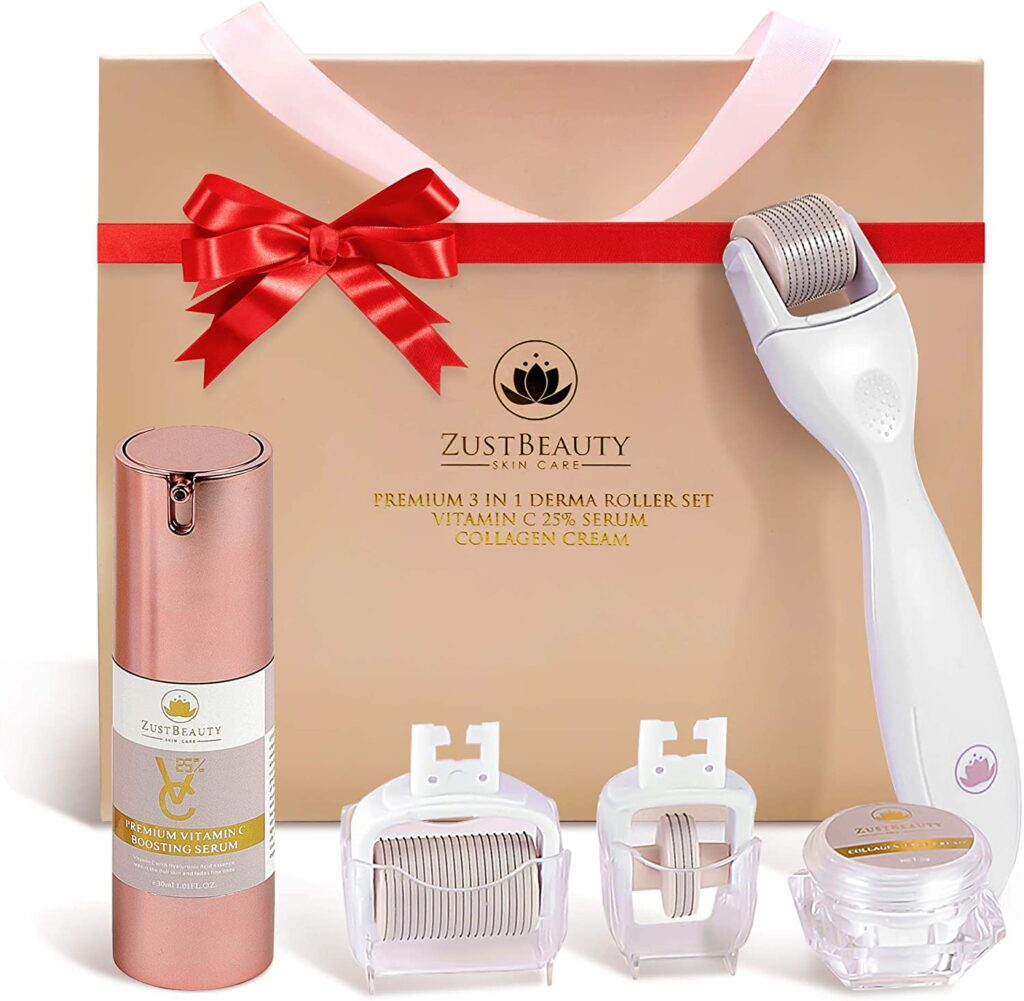 The set features three different microneedle roller heads aimed to help the eye area, face and body. (Amazon)