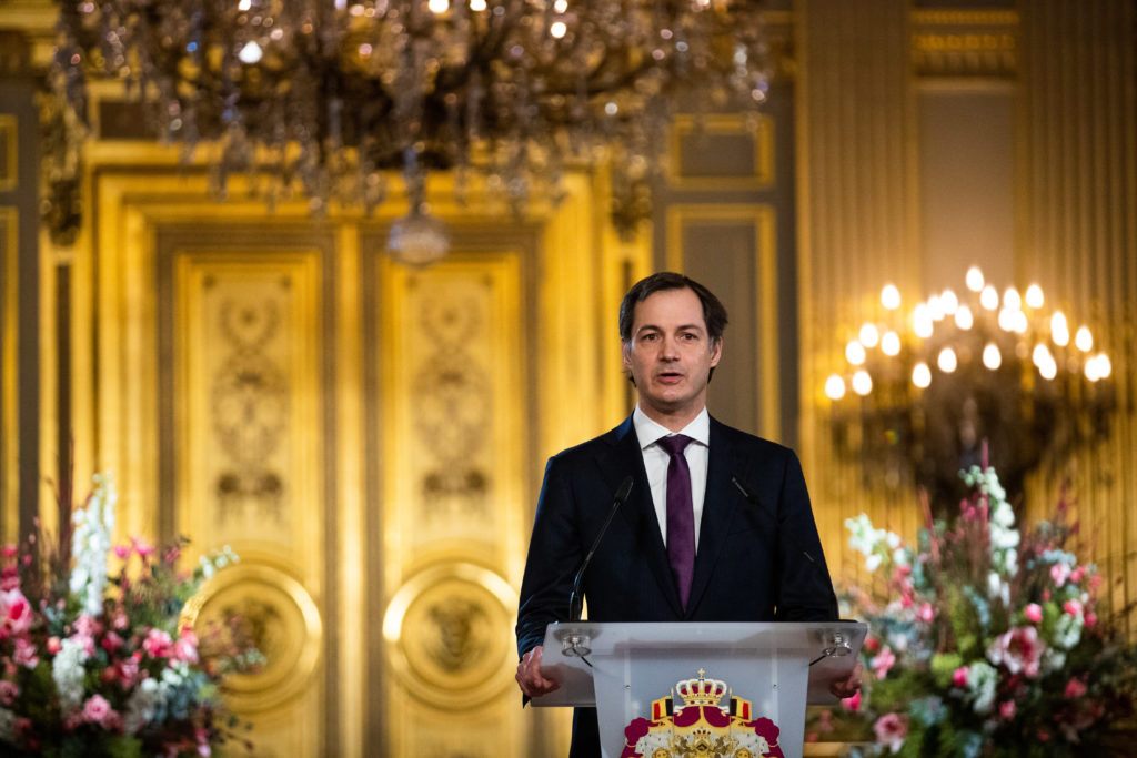 Prime Minister of Belgium Alexander De Croo in a gilded state room