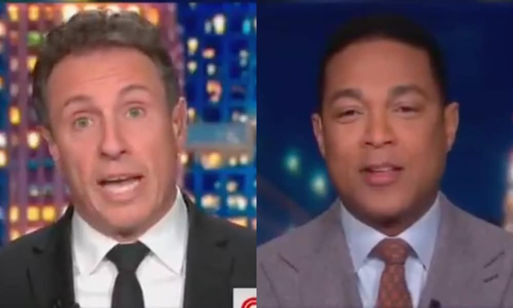 On the left: Chris Cuomo speaking in a black suit and white shirt. On the right: Don Lemon makes a befuddled expression, wearing a grey suit, blue shirt and brown tie