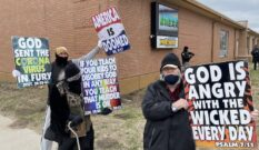 Westboro Baptist Church protesters outside Nickerson High School.