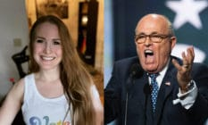On the left: Caroline Giuliani smiles while facing the camera in a white vest. On the right: Rudy Giuliani.