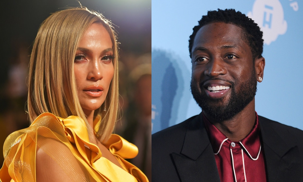 On the left: Jennifer Lopez looks to her right in a yellow dress. On the right: Dwyane Wade smiles in a red printed shirt and black blazer