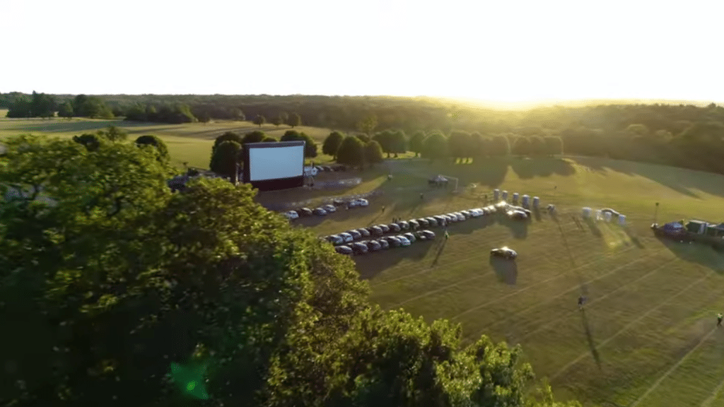 One of the settings for the Luna Cinema drive-in experience. (YouTube)