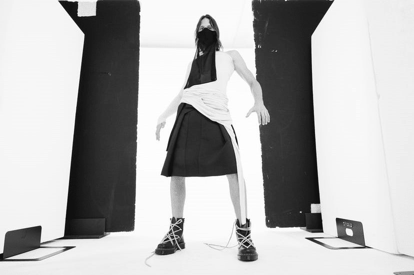 The collaboration features the designer's signature grunge style. (Dr Martens/RickOwens)