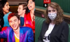 On the left: The cast of It's a Sin, including Olly Alexander. On the right: Angela Rayner sits on the front bench in parliament wearing a t-shirt reading: 'La'