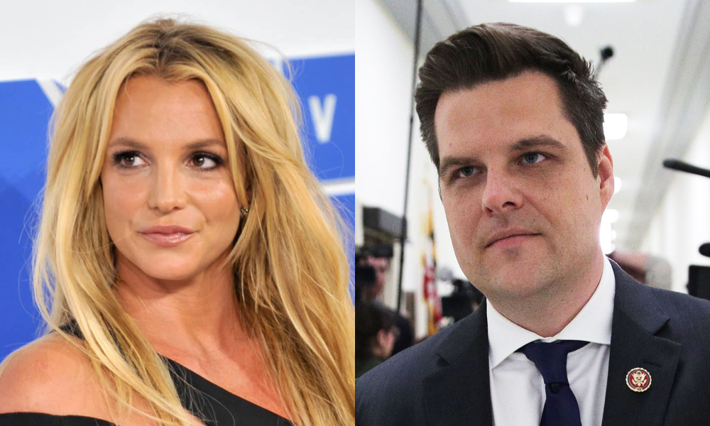 On the left: Britney Spears in a black dress poses. On the right: Matt Gaetz in a suit walks through a corridor with paparazzi behind h