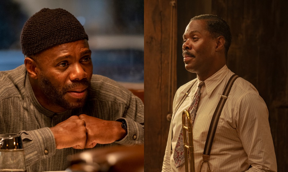 Colman Domino in Euphoria, leaning on a table wearing a beanie hat, and in Ma Rainey's Black Bottom, as a blues musician in a shirt, tie and braces