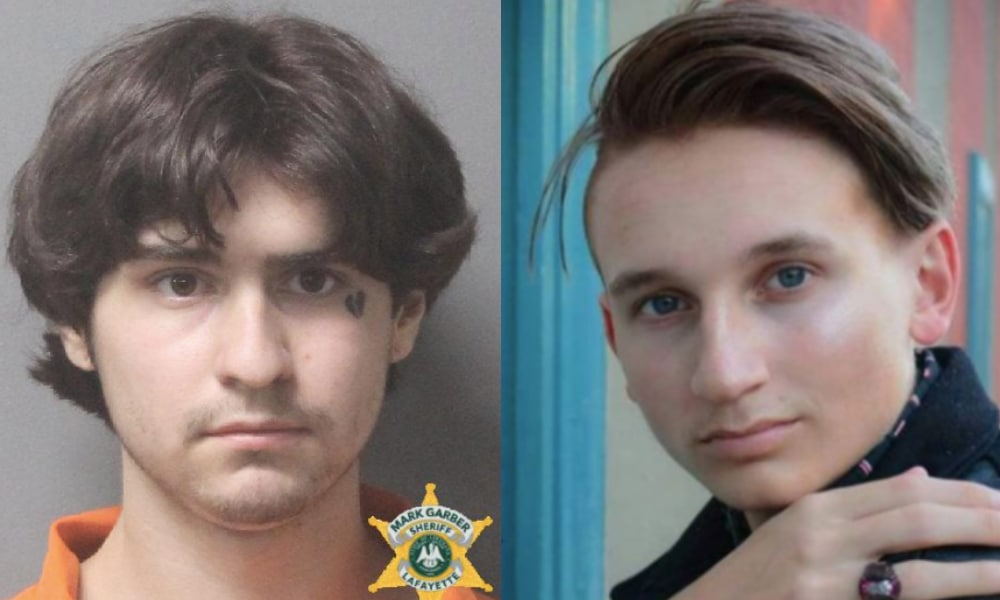 On the left: Chance Seneca's mugshot. On the right: Holden White poses as he looks towards the camera, his hand on his shoulder