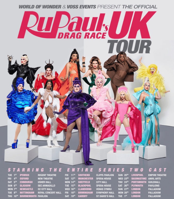 The official RuPaul's Drag Race UK tour has added 10 extra dates. (Twitter)