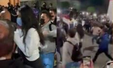 On the left: Dua Lipa, with a face masks, cowers as she is surrounded by fans. On the right: Fans run towards Dua Lipa