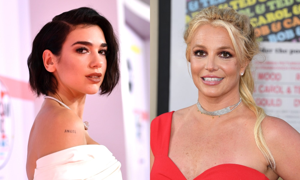 Headshots of Dua Lipa and Britney Spears in dresses smiling