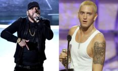 Eminem rapping at the 2018 Oscars in all black. and a young Eminem with bleach blonde hair in a white vest