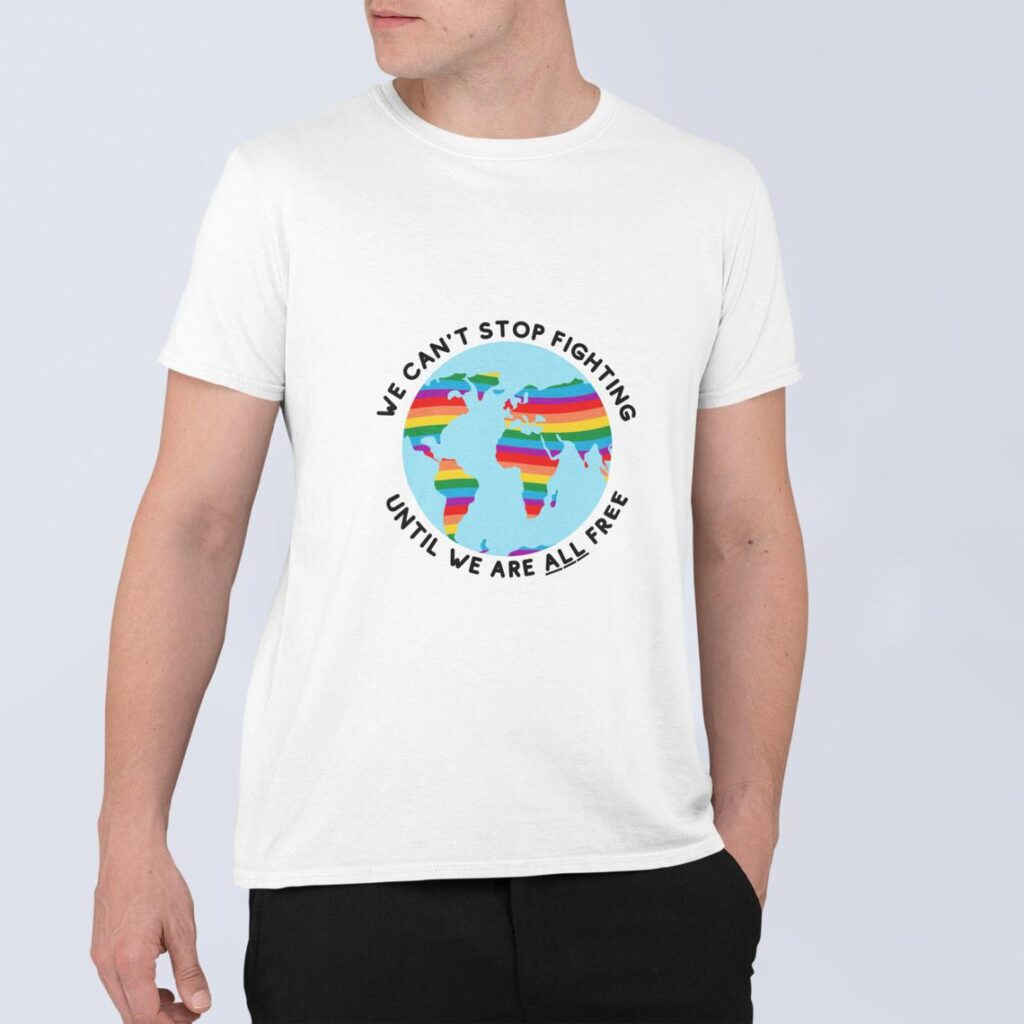 This t-shirt highlights freedrom for every LGBT+ person across the globe. (ThirstyStore)
