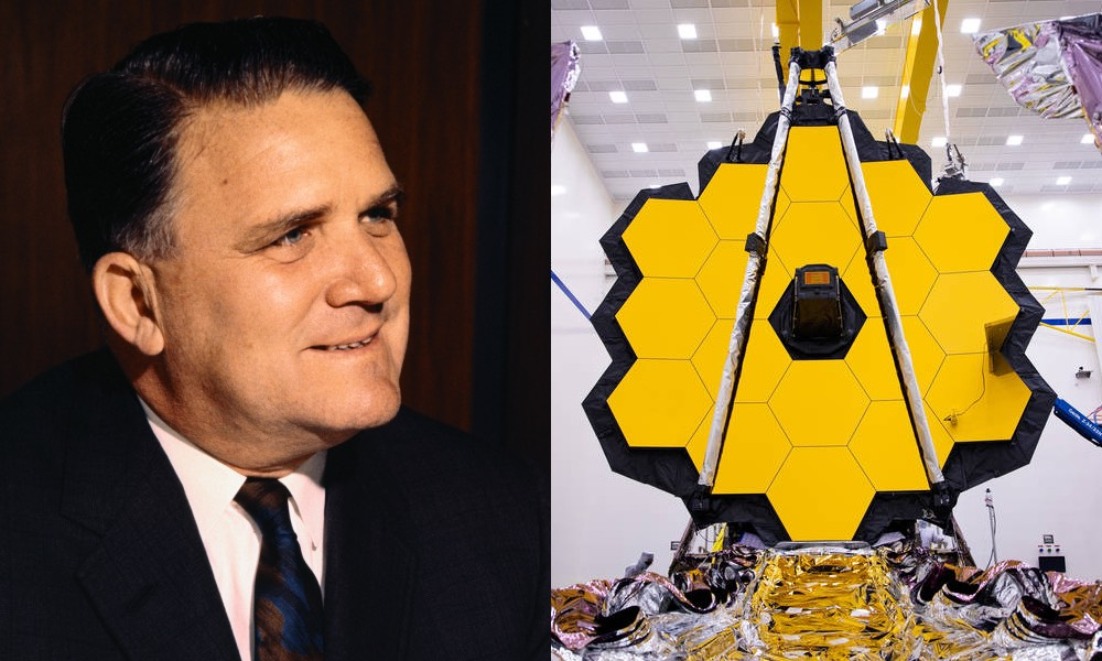 James Webb, a middle-aged man in a suit, and a space telescope made up of large yellow hexagonal panels