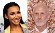 On the left: Naya River smiles at the camera. On the right: Ryan Murphy stares with a stoney expression