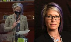 On the left: Sarah Peters, wearing a face mask, delivery a speech in the Assembly. On the right: A headshot of Sarah Peters