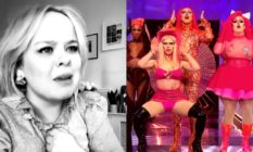 Nicola Coughlan in black and white with a serious face, 4 Drag Race queens performing