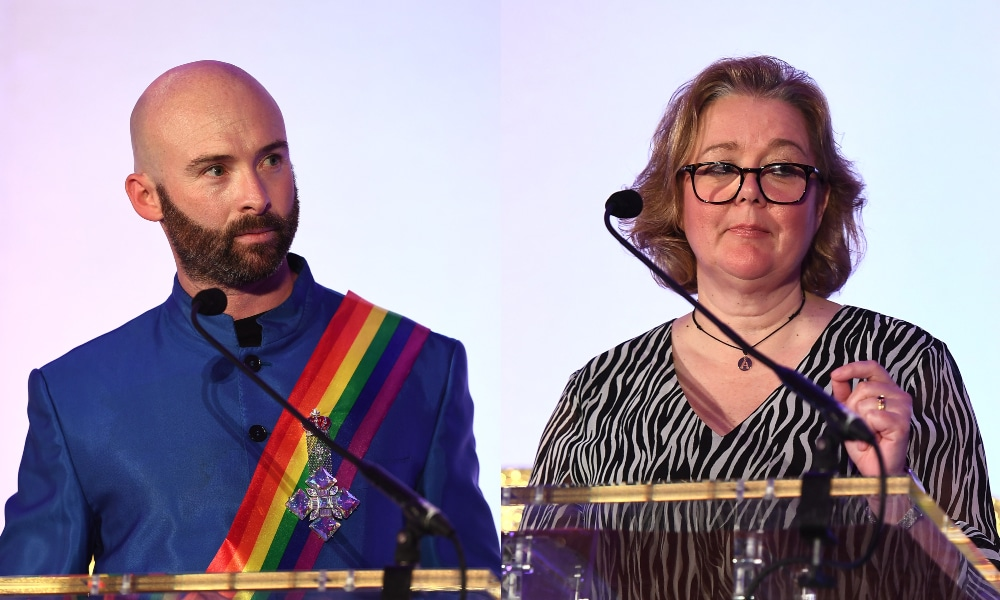 Side-by-side headshots of Alison Camps and Michael Salter-Church speaking behind a podium