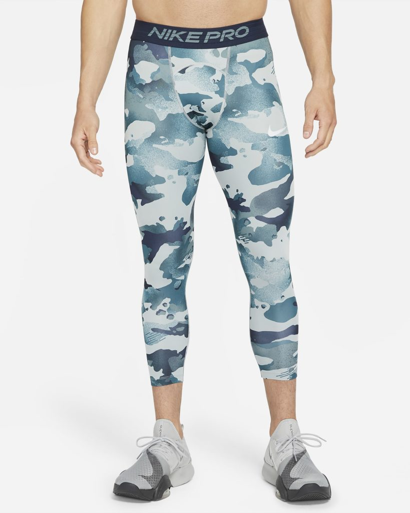 The camo print leggings are available in blue or grey. (Nike)