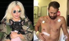 On the left: Lady Gaga in a camouflage jacket holding a French bulldog. On the right: Ryan Fischer, shirtless, sits upright on a hospital bed