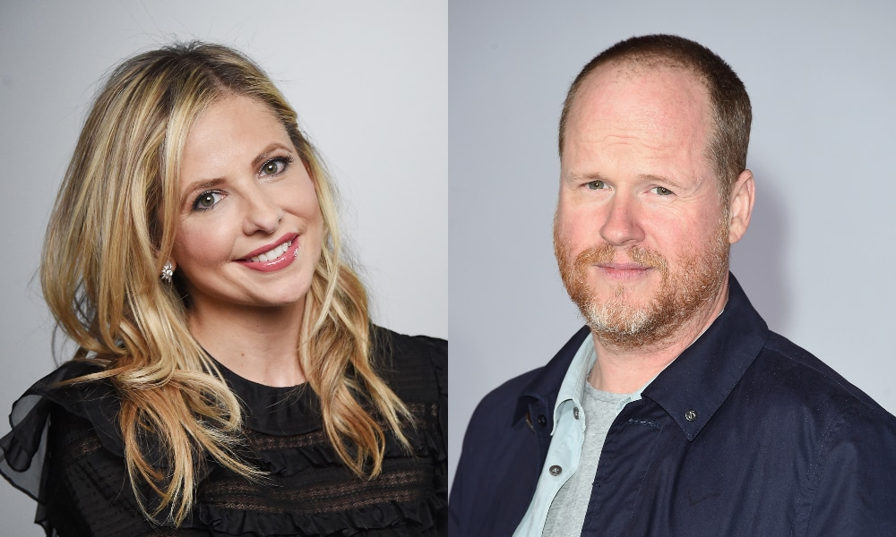 Headshots of Sarah Michelle Gellar and Joss Whedon, smiling