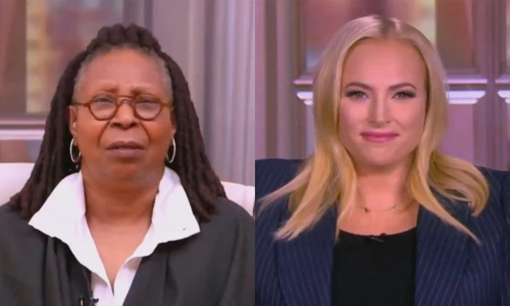 On the left: Whoopi Goldberg in a white shirt and black blazer with a befuddled expression. On the right: Meghan McCain smiles into the camera.