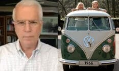 On the left: Frank Wright speaks to the camera in a white shirt. On the right: Two women look out of a Volkswagen Samba bus